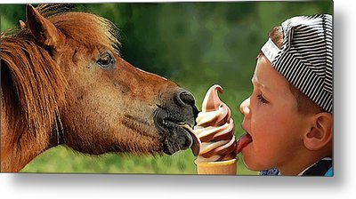 Pals - Getting Their Licks In Metal Print by I'ina Van Lawick