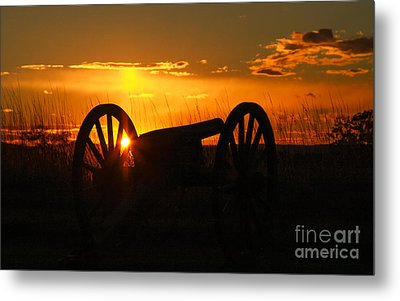 Gettysburg Cannon Sunset Metal Print