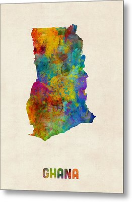 Ghana Watercolor Map Metal Print by Michael Tompsett