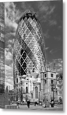 Gherkin And St Andrew's Black And White Metal Print by Gary Eason