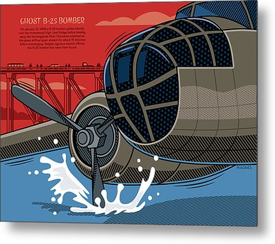 Metal Print featuring the digital art Ghost B-25 Bomber by Ron Magnes