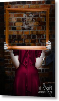Ghost With Picture Frame Metal Print