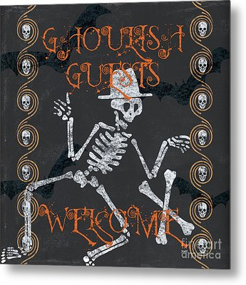 Ghoulish Guests Welcome Metal Print by Debbie DeWitt