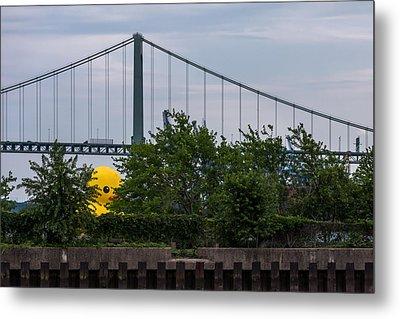 Giant Yellow Duck Walt Whitman Bridge Philly Metal Print