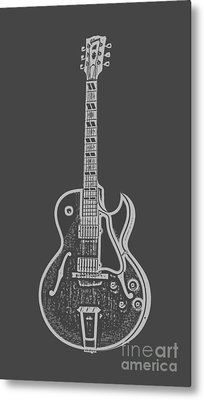 Gibson Es-175 Electric Guitar Tee Metal Print by Edward Fielding