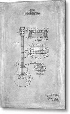 Gibson Guitar Patent From 1955 Metal Print by Mark Rogan