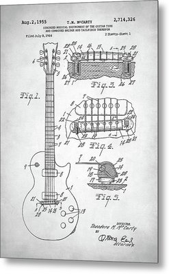Metal Print featuring the digital art Gibson Les Paul Electric Guitar Patent by Taylan Apukovska
