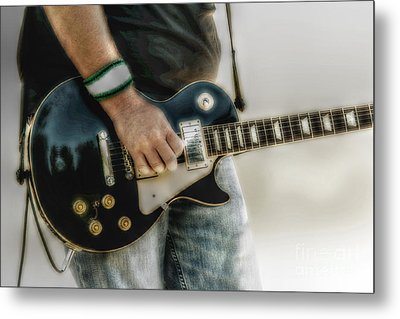 Gibson Les Paul Guitar Player Two Metal Print by Randy Steele