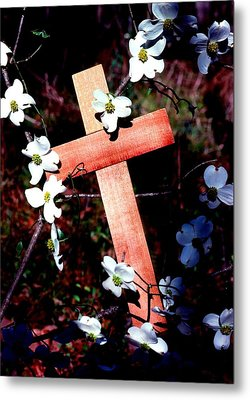 Gift Cross And Dogwood Metal Print by John Foote