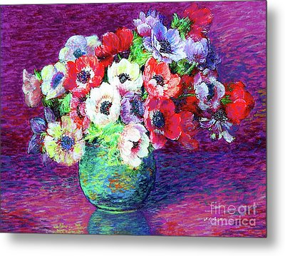 Gift Of Flowers, Red, Blue And White Anemone Poppies Metal Print by Jane Small