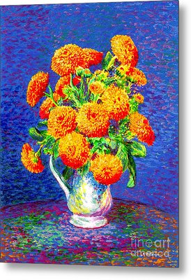 Gift Of Gold, Orange Flowers Metal Print by Jane Small