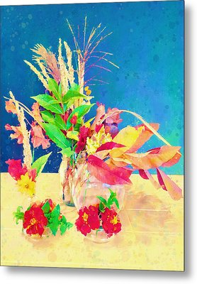 Metal Print featuring the digital art Gifts From The Yard Watercolor by Christina Lihani
