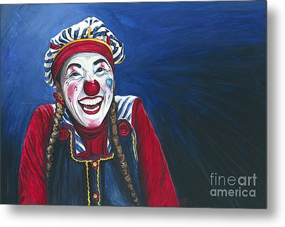 Giggles The Clown Metal Print by Patty Vicknair