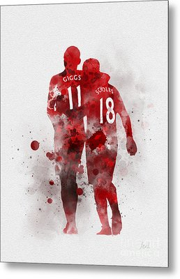 Giggsy And Scholesy Metal Print by Rebecca Jenkins