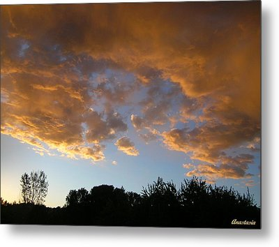 Metal Print featuring the photograph Gilded Cloud Bellies Above The Western Skyline by Anastasia Savage Ealy