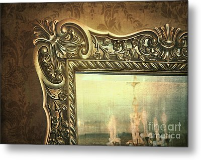 Gilded Mirror Reflection Of Chandelier Metal Print by Sandra Cunningham