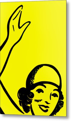 Gilr In Yellow Metal Print by John Gusky