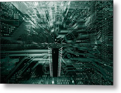 Ginat Microchip Hovering Above Circuit-board Metal Print by Christian Lagereek