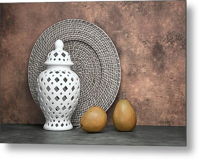 Ginger Jar With Pears I Metal Print by Tom Mc Nemar
