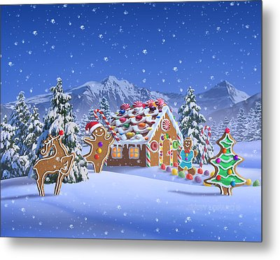 Gingerbread House Metal Print