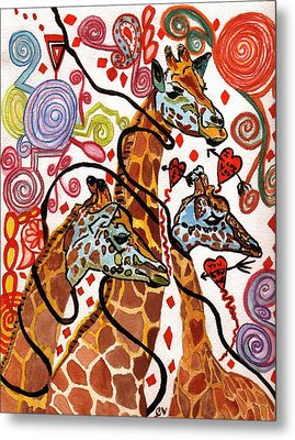 Giraffe Birthday Party Metal Print by Connie Valasco