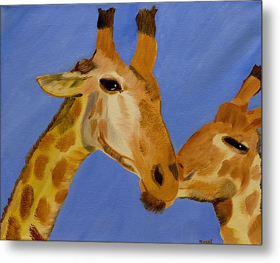 Giraffe Bonding Metal Print