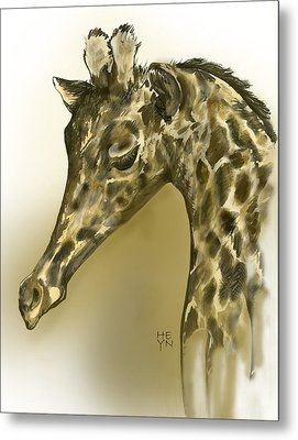 Giraffe Contemplation Metal Print by Shirley Heyn