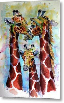 Metal Print featuring the painting Giraffe Family by Kovacs Anna Brigitta