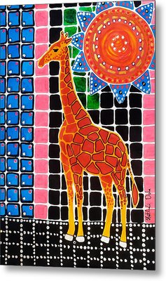 Metal Print featuring the painting Giraffe In The Bathroom - Art By Dora Hathazi Mendes by Dora Hathazi Mendes
