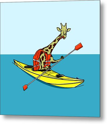 Giraffe Kayaking Metal Print by Early Kirky