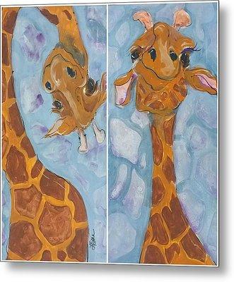 Giraffe Set Metal Print