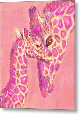 Metal Print featuring the digital art Giraffe Shades- Pink by Jane Schnetlage
