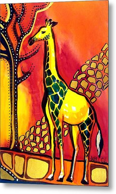 Metal Print featuring the painting Giraffe With Fire  by Dora Hathazi Mendes
