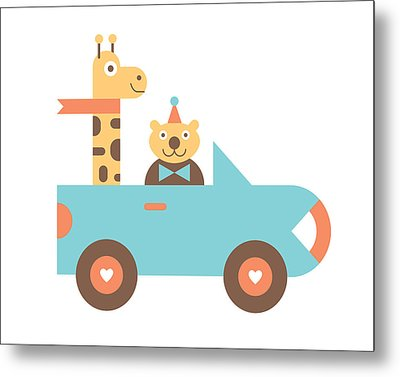Animal Car Pool Metal Print by Mitch Frey