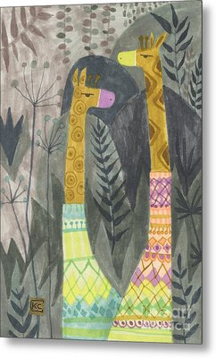 Giraffes In Turtleneck Sweaters Metal Print by Kate Cosgrove