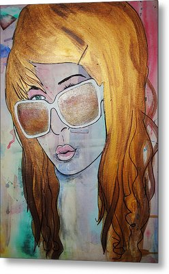 Metal Print featuring the painting Girl 16 by Josean Rivera