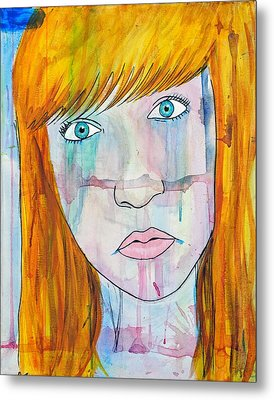 Metal Print featuring the painting Girl 17 by Josean Rivera