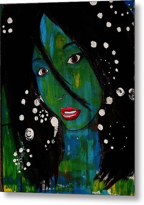 Metal Print featuring the painting Girl 8 by Josean Rivera