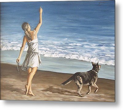 Metal Print featuring the painting Girl And Dog by Natalia Tejera