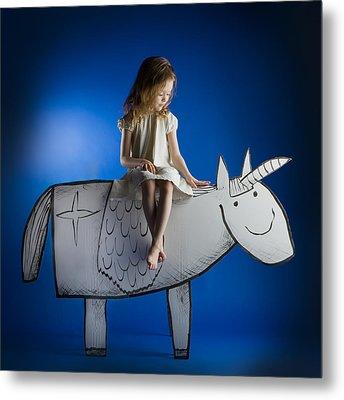 Girl And Her Unicorn Metal Print