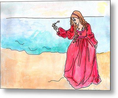 Girl And Singing Fish Metal Print by Debbie Davidsohn