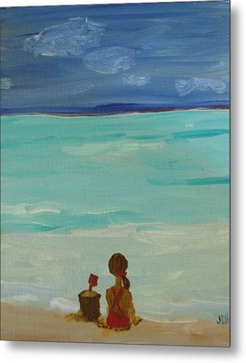 Girl And The Beach Metal Print