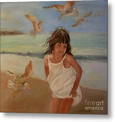 Girl And The Seagulls Metal Print
