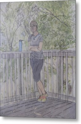 Metal Print featuring the painting Girl At The Mountain Top by Joel Deutsch