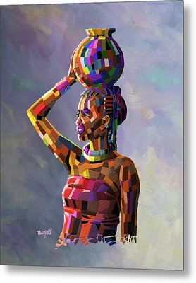 Girl Carrying Water Metal Print by Anthony Mwangi