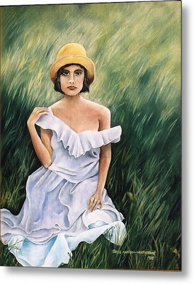 Girl In A Field Of Grass Metal Print by  Gayle  Hartman