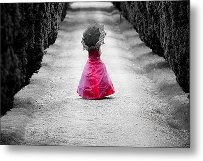 Girl In A Red Dress Metal Print