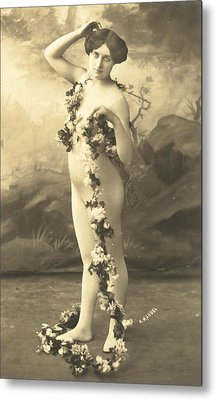 Girl In Body Stocking Holding Garland Of Flowers Metal Print