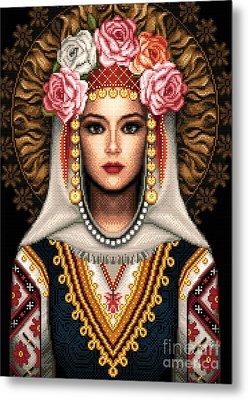 Girl In Bulgarian National Costume Metal Print by Stoyanka Ivanova
