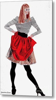 Girl In Red Skirt Metal Print by Genevieve Esson